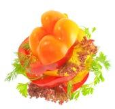 Draufsicht des Gemüsesandwiches mit Tomatepfeffer Lizenzfreies Stockfoto