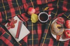 Draufsicht des gemütlichen Herbstmorgens zu Hause Frühstücken Sie mit Topf des Tees und des Bagels mit Äpfeln auf woolen Plaiddec Stockfoto