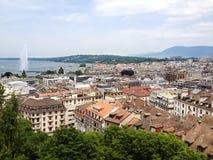 Draufsicht des Genf-alten Stadt und Genfersees mit Jetd ` Eau-Brunnen als Symbol von Genf-Stadt, die Schweiz, Europa stockbilder