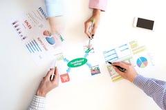 Draufsicht des Geschäftstreffens mit Diagrammen auf weißem Schreibtisch lizenzfreies stockbild