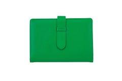 Draufsicht des grünen Notizbuches Stockbild