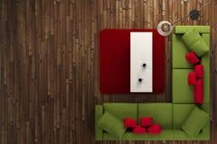 Draufsicht des grünen und roten Raumes Stockfotos