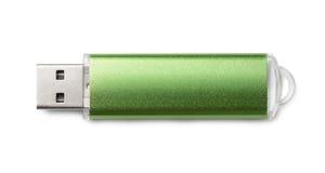 Draufsicht des grünen USB-Blitz-Antriebs Stockbilder