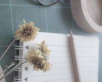 Draufsicht des Gummischneiders, Notizbuch, Bleistift, idealer Gebrauch für Hintergrund Lizenzfreie Stockbilder