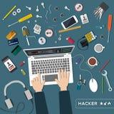 Draufsicht des Hackers Stockfoto