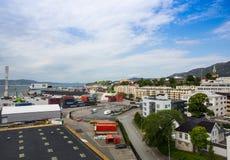 Draufsicht des Hafens von Bergen Stockfotografie