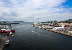 Draufsicht des Hafens von Bergen Stockbild