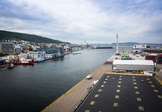 Draufsicht des Hafens von Bergen Stockfotos