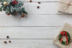 Draufsicht des Hintergrundes Dekoration guten Rutsch ins Neue Jahr und der frohen Weihnachten Stockfotos