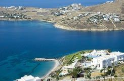 Draufsicht des Hotels in der Mykonos Insel Lizenzfreies Stockfoto
