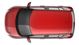 Draufsicht des kompakten roten Autos stockbilder