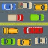 Draufsicht des Landstraßenverkehrs Stockbilder