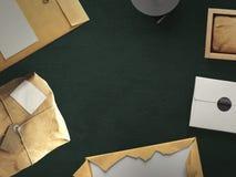 Draufsicht des leeren Weißbuchblattes mit Bürowerkzeugen Lizenzfreie Stockfotos