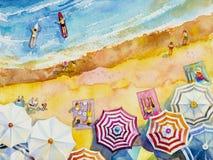 Draufsicht des Malereiaquarellmeerblicks bunt von den Liebhabern, Familie stock abbildung