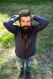 Draufsicht des Mannes mit Bart Stockbilder