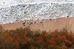 Draufsicht des Meeres und der Wellen, des Sanddorns auf dem Strand, der Draufsicht des Meeres und der Wellen stockfoto