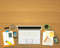 Draufsicht des modernen Arbeits-Schreibtisches Lizenzfreies Stockfoto