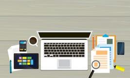 Draufsicht des modernen Arbeits-Schreibtisches Stockfoto