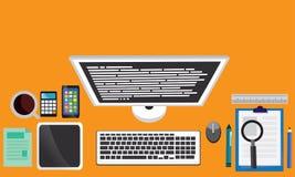 Draufsicht des modernen Arbeits-Schreibtisches Stockfotografie