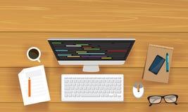 Draufsicht des modernen Arbeits-Schreibtisches Lizenzfreie Stockbilder