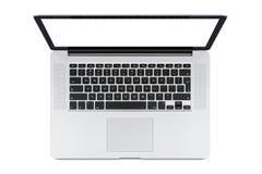 Draufsicht des modernen Laptops mit englischer Tastatur Stockfoto