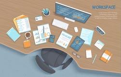 Draufsicht des modernen stilvollen hölzernen Schreibtisches im Büro, Stuhl, Büroartikel, Dokumente Ihre ganze Notwendigkeit an de vektor abbildung