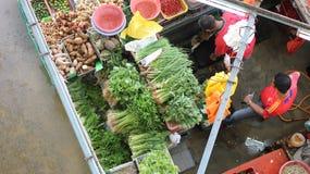 Draufsicht des nassen Marktstalls Stockbild