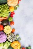 Draufsicht des Regenbogengemüses, Herbsternte Lizenzfreie Stockfotos