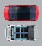 Draufsicht des roten Autos und der Autogestalt lokalisiert auf grauem Hintergrund vektor abbildung