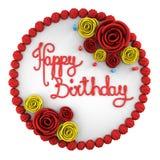 Draufsicht des runden Geburtstagskuchens mit Kerzen auf dem Teller lokalisiert Stockfotografie
