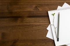 Draufsicht des Schreibtisches eines Herausgebers Lizenzfreie Stockbilder