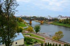 Draufsicht des Stadtzentrumods Vitebsk stockbild