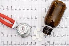 Draufsicht des Stethoskops und der Pillen auf einem Elektrokardiogramm Stockfoto