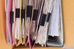 Draufsicht die Dokumente stockfotos