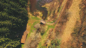 Draufsicht einer Holzbrücke beim Eutersee Stockfoto