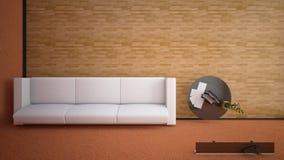 Draufsicht einer Innen-Wiedergabe eines Wohnzimmers stockfoto