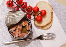 Draufsicht einer offenen Blechdose der Fische, mit Tomaten einer Gabel, des Brotes und der Kirsche lizenzfreies stockfoto