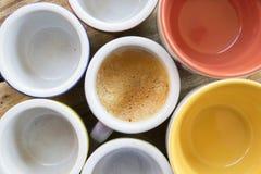 Draufsicht einer Schale sahnigen Espresso coffeee Lizenzfreie Stockfotografie