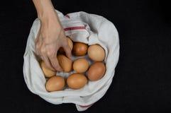 Draufsicht einer weiblichen Hand, die frisches Ei von einem weißen Stoff auf einer Tischplatte auswählt stockbilder