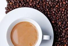 Draufsicht eines Kaffee gefüllten Cup Lizenzfreie Stockfotografie