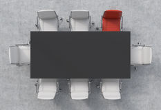 Draufsicht eines Konferenzsaales Eine schwarze rechteckige Tabelle und acht Stühle herum, eins von ihnen ist rot Abstraktes 3d üb Lizenzfreie Stockbilder
