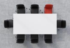 Draufsicht eines Konferenzsaales Eine weiße rechteckige Tabelle und acht Stühle herum, eins von ihnen ist rot Wiedergabe 3d Stockbild