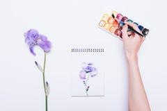 Draufsicht eines Mädchens zeichnet eine blaue Blume in einem Notizbuch mit waterc Stockbild