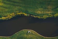 Draufsicht eines Paares, das auf das Gras nahe dem Fluss legt lizenzfreie stockfotos