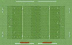 Draufsicht eines Rugbyfeldes Stockfoto