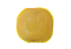 Draufsicht eines Stapels einfacher Pfannkuchen auf einem weißen Hintergrund lizenzfreies stockfoto