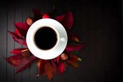 Draufsicht eines Tasse Kaffees Stockfotos