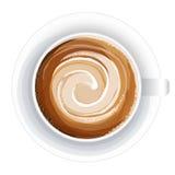 Draufsicht eines Tasse Kaffees, Isolat auf Weiß Stockfoto