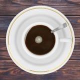 Draufsicht eines Tasse Kaffees Wiedergabe 3d Lizenzfreie Stockbilder