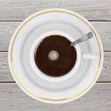 Draufsicht eines Tasse Kaffees Wiedergabe 3d Lizenzfreies Stockfoto
